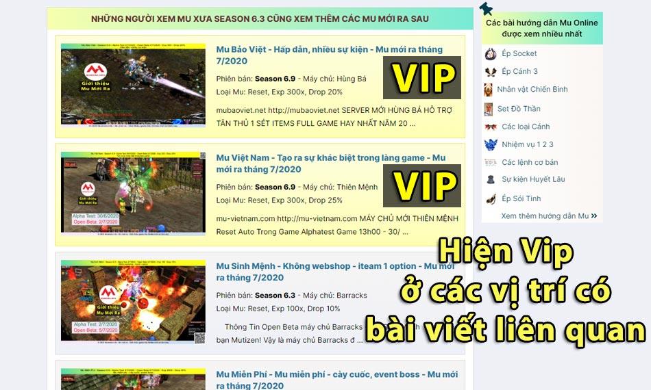 Quảng cáo Vip tại các trang có nội dung liên quan