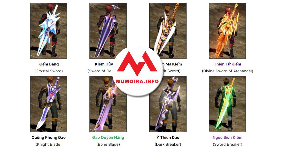 Hướng dẫn các loại Kiếm (Sword) trong Mu Online - Mumoira.info